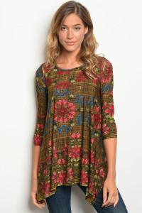 C65-A-3-T2010 MUSTARD FLORAL TOP 2-2-2