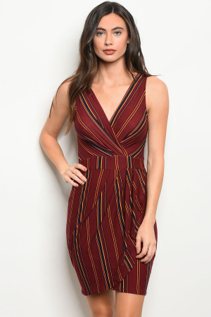 C90-A-4-D2186 BURGUNDY WINE STRIPES DRESS 2-2-2