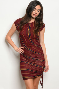 C96-A-4-D23525 BURGUNDY NAVY STRIPES DRESS 2-2-2
