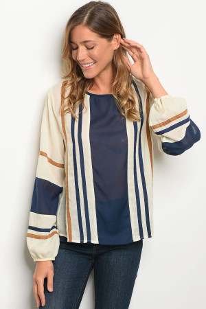 S13-4-2-T642 CREAM NAVY STRIPES TOP 2-2-2