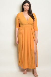 S18-10-1-MD7988X MUSTARD PLUS SIZE DRESS 1-2-1-2