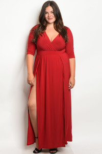 S13-5-2-MD7988X BURGUNDY PLUS SIZE DRESS 2-2-2-2