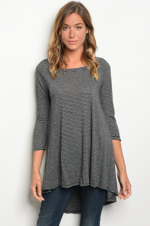 C75-A-3-T1108 BLACK STRIPES TOP 2-2-2