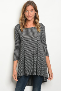 C68-A-1-T1108 BLACK STRIPES TOP 3-2-3