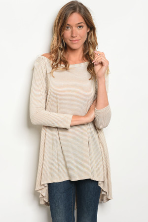 C75-A-3-T1108 TAUPE STRIPES TOP 2-2-2