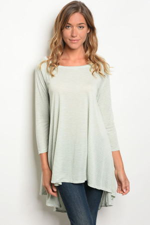 C75-A-3-T1108 SAGE STRIPES TOP 2-2-2