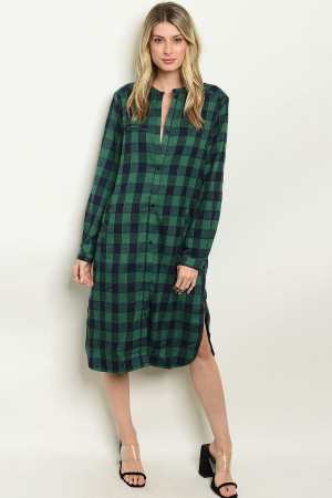 S8-4-2-D8014 GREEN NAVY CHECKER DRESS 2-2-2