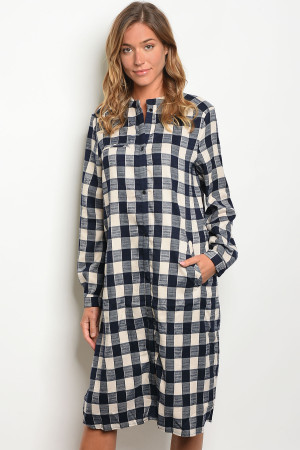 S18-12-1-D8014 NAVY OFF WHITE CHECKER DRESS 2-2-2