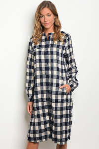 S15-9-3-D8014 NAVY OFF WHITE CHECKER DRESS 2-2