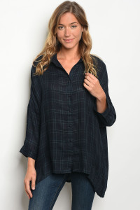 S16-10-2-T1053 NAVY GREEN TOP 1-3-4