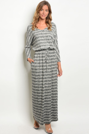 C76-A-2-D3082 BLACK IVORY STRIPES DRESS 2-2-2