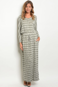 C78-A-7-D3082 OLIVE IVORY STRIPES DRESS 2-2-2