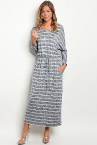 C82-A-5-D3082 NAVY IVORY STRIPES DRESS 2-2-2