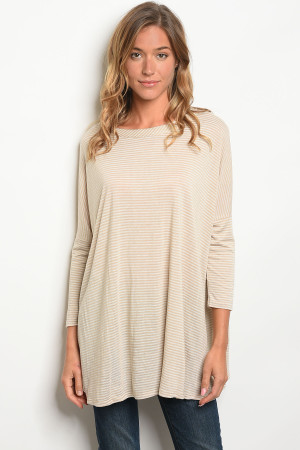 C88-A-6-T1109 TAUPE STRIPES TOP 2-2-2