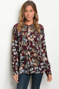 S18-10-3-T6033 WINE BUTTERFLY PRINT TOP 1-2-2