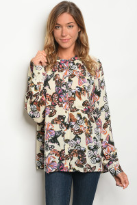 S8-2-2-T6033 NATURAL BUTTERFLY PRINT TOP 2-2-2
