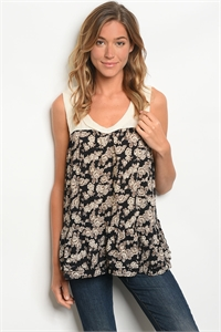 S17-9-5-T5313 CREAM BLACK W/ FLOWERS PRINT TOP 2-2-2