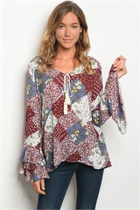 S13-7-4-T6139 WINE W/ FLOWERS PRINT TOP 2-2-2
