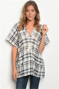 S15-10-3-T4207 CREAM NAVY CHECKERS TOP 2-3-2