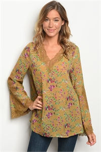 S8-4-1-T6145 MUSTARD FLORAL TOP 2-2-2