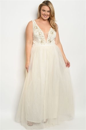 S13-9-1-D24957X CREAM PLUS SIZE DRESS 2-2-2