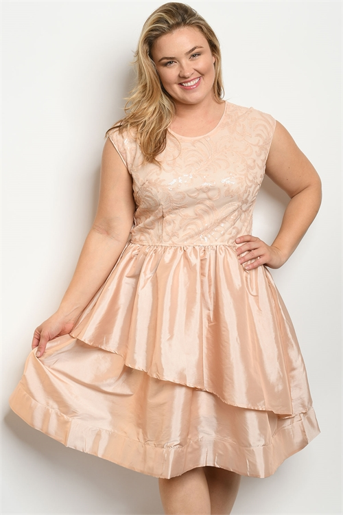 S13-2-1-D24784X BLUSH WITH SEQUINS PLUS SIZE DRESS 2-2-2 ***WARNING: California Proposition 65***