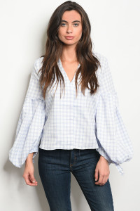 S19-8-2-T3224 BLUE CHECKERED TOP 3-2-2