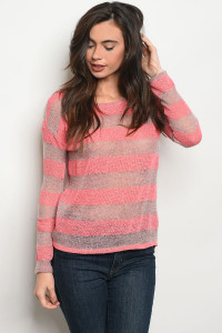 C80-B-3-T6139 CORAL STRIPES TOP 2-2-2