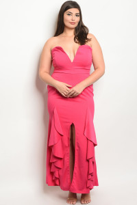C86-A-3-D23478X FUCHSIA PLUS SIZE DRESS 2-2-2