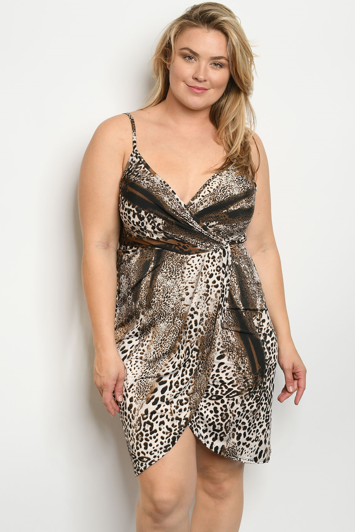 C26-A-5-D12306X BROWN LEOPARD PRINT PLUS SIZE DRESS 2-2-2