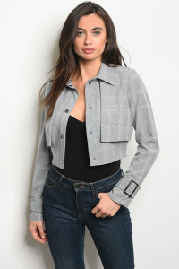 S13-3-5-J22112 GRAY CHECKED JACKET 2-2-2