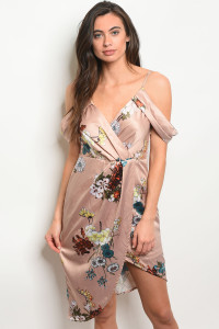 S19-6-5-D30453 TAUPE FLORAL DRESS 2-2-2