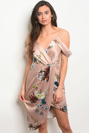 S14-10-6-D30453 TAUPE FLORAL DRESS 3-2-2