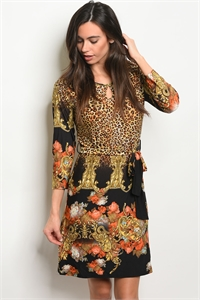 112-6-3-D8446 BLACK YELLOW CHEETAH PRINT DRESS 2-2-2