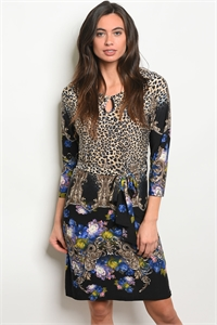 S23-6-1-D8446 BLACK BEIGE CHEETAH PRINT DRESS 2-2-2