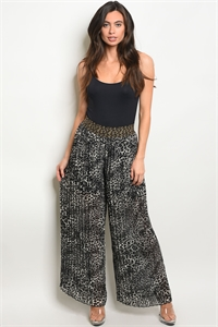 S19-6-1-P5015 BLACK GRAY CHEETAH PRINT PANTS 2-2-2