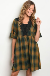 S18-5-2-D5404 GREEN MUSTARD CHECKERS DRESS 2-2-2