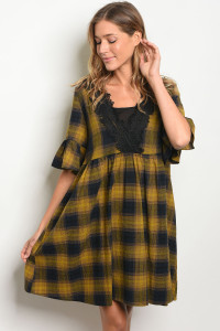 S13-4-2-D5404 NAVY MUSTARD CHECKERS DRESS 2-2-2