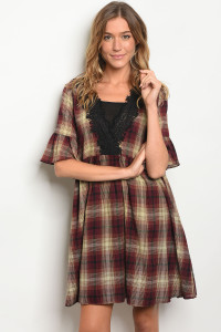 S13-5-2-D5404 BURGUNDY TAUPE CHECKERS DRESS 2-2-2