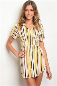 S16-5-3-D59311 YELLOW RED STRIPES DRESS 2-2-2