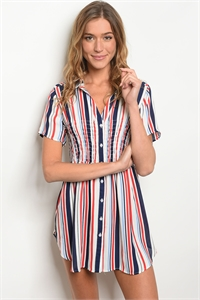 S16-10-1-D59311 NAVY RED STRIPES DRESS 2-2-2