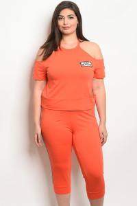 S16-12-1-SET9702X ORANGE WHITE PLUS SIZE TOP & PANTS SET 2-2-1