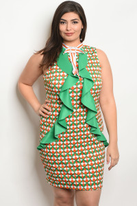 C95-A-2-D4835X GREEN ORANGE PLUS SIZE DRESS 2-2-2