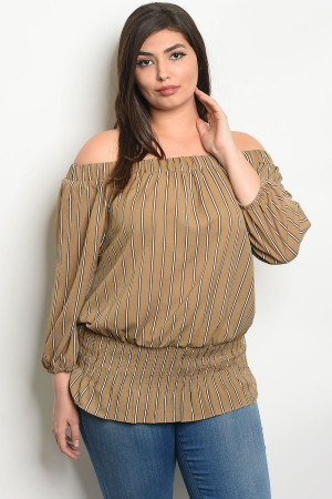 S17-6-1-T9248X KHAKI BLACK STRIPES PLUS SIZE TOP 1-1-1