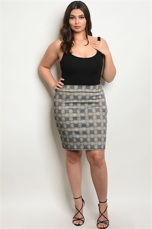 C90-B-2-S9930X BLACK YELLOW CHECKED PLUS SIZE SKIRT 2-2-2