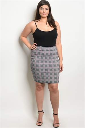 C89-B-3-S9930X NAVY RED CHECKED PLUS SIZE SKIRT 2-2-2