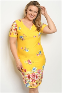 S22-2-3-D16892X YELLOW FLORAL PLUS SIZE DRESS 2-2-2
