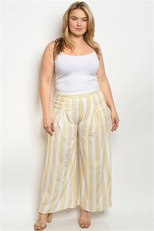S22-2-1-P81055X YELLOW WHITE PRINT PLUS SIZE PANTS 2-2-2