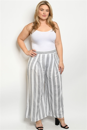 S23-1-1-P81055X BLACK WHITE PRINT PLUS SIZE PANTS 2-2-2