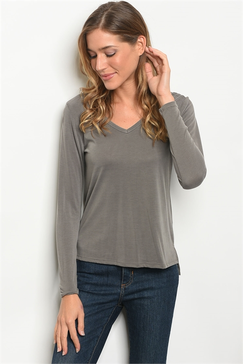C18-B-2-T214 GRAY WASH TOP 2-2-2